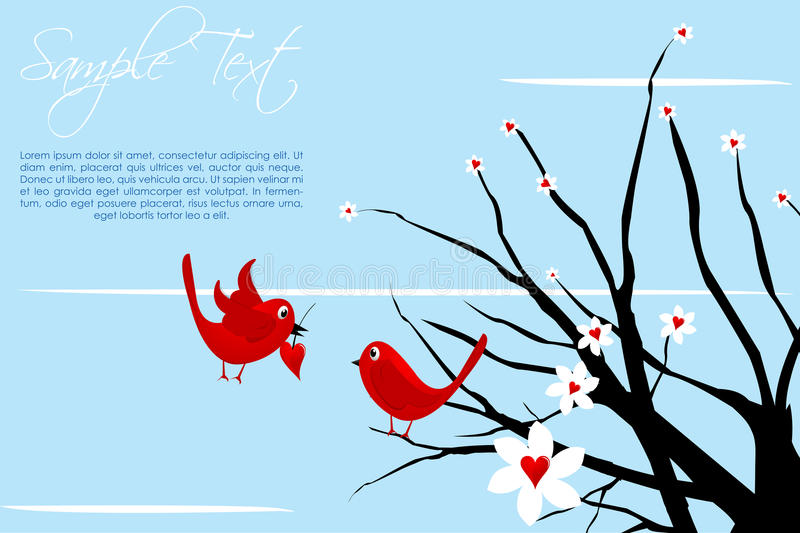 Valentine card with birds royalty free illustration
