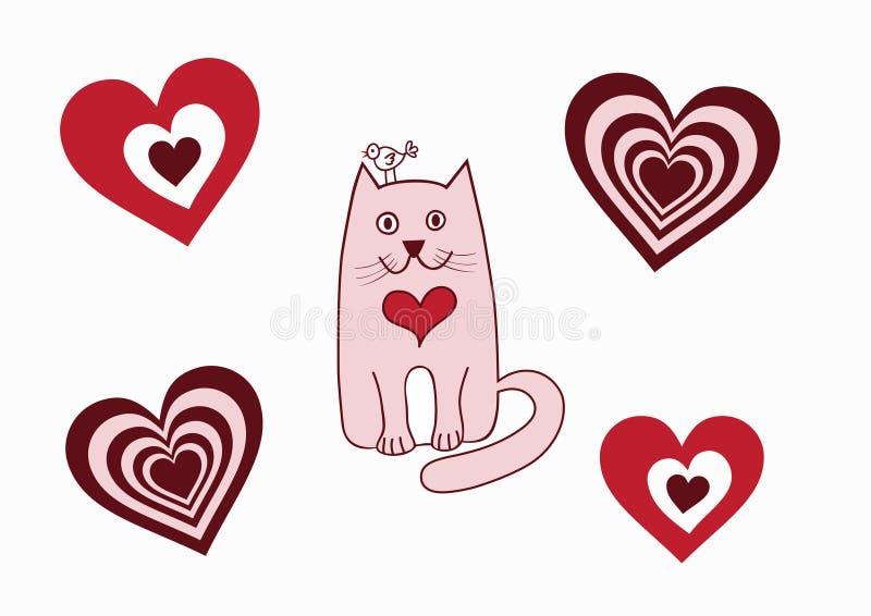 Valentine Card Cat Bird Stock Photo