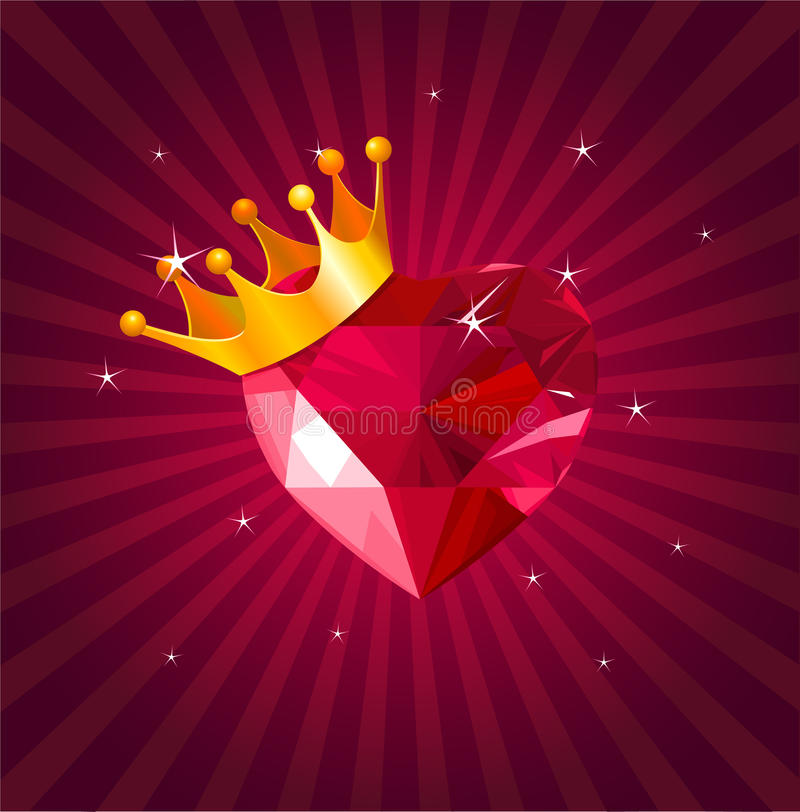 Valentine card with crystal heart vector illustration