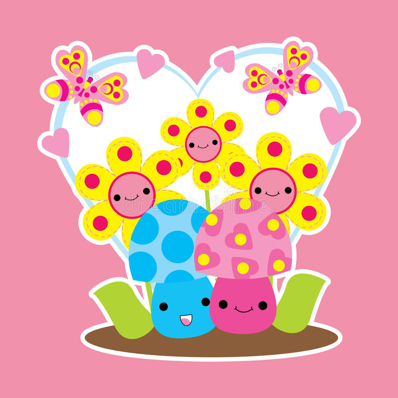 Valentine card with cute mushrooms and flower cartoon on love frame vector illustration