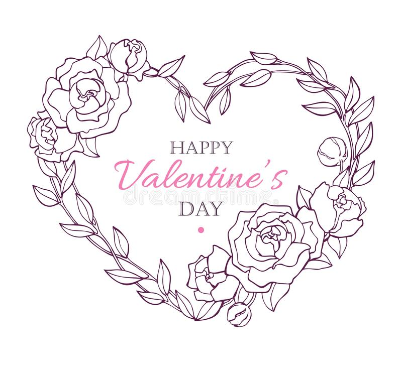 Valentine Card with flower wreath in heart shape. Vintage card. royalty free illustration