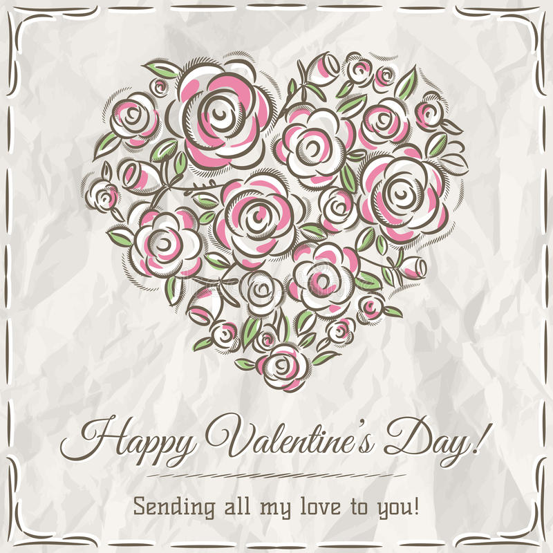 Valentine card with heart of flowers and wishes text stock photography