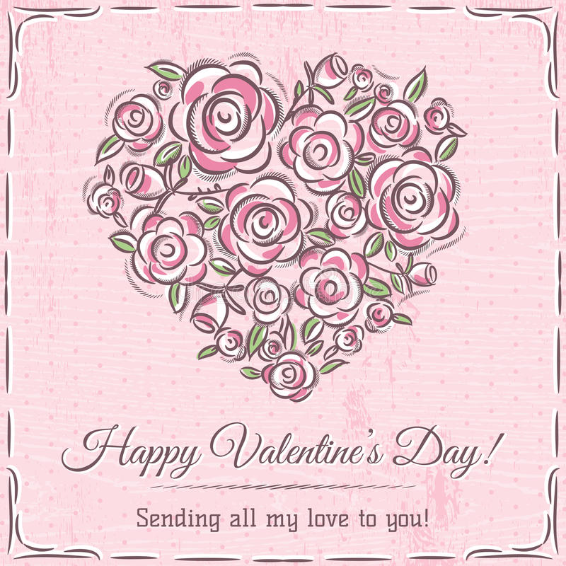 Valentine card with heart of flowers and wishes text royalty free stock images