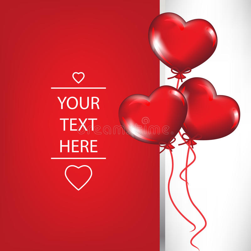 Valentine card with heart shaped balloons royalty free illustration