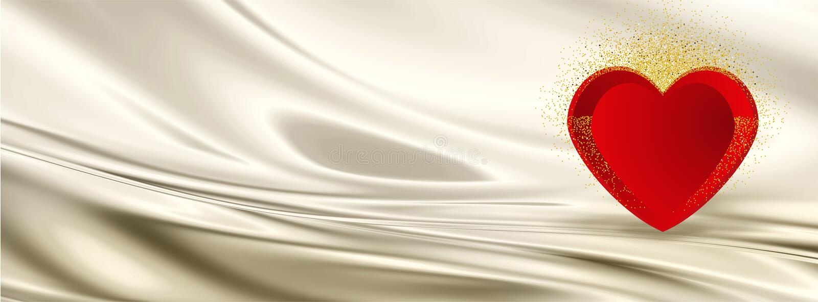 Valentine Facebook cover with hearts on silk background with golden glittering confetti- vector royalty free stock image