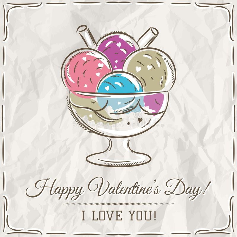 Valentine card with ice cream and wishes text stock photos