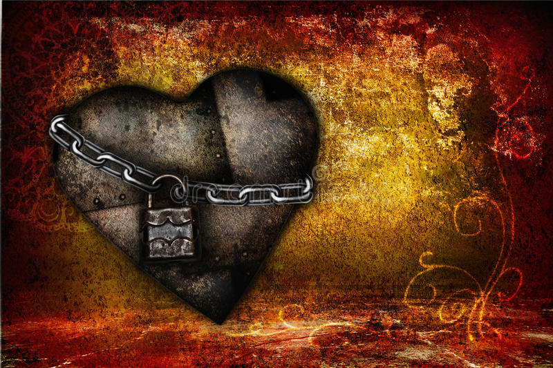 Valentine card with iron heart royalty free stock photos