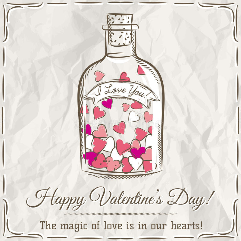 Valentine card with jar filled with hearts stock photography