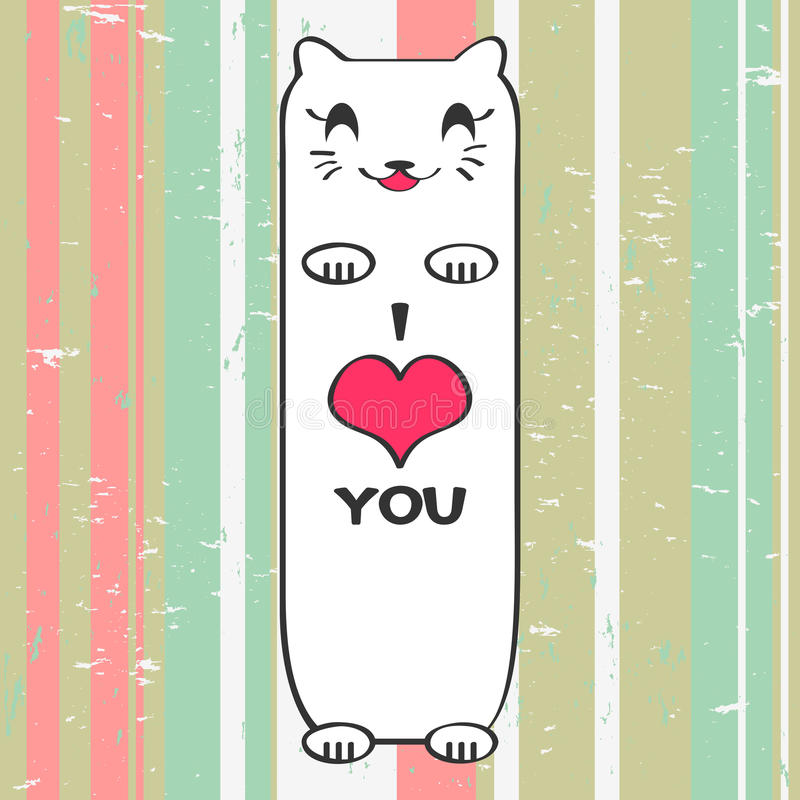 Download Valentine card with kitty stock vector. Image of baby - 27665553