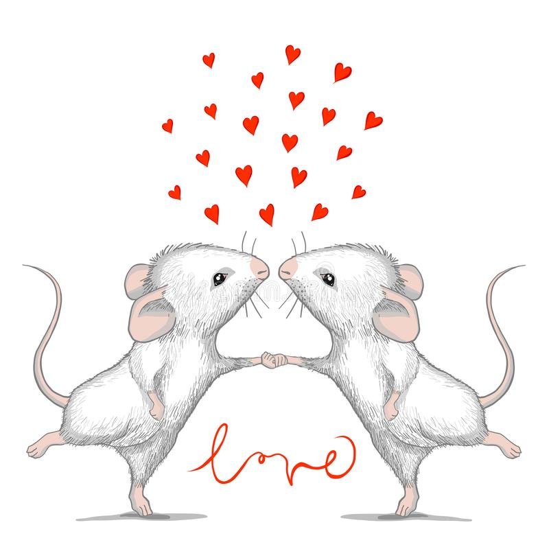 Valentine card with loving mice and calligraphy word LOVE. stock illustration