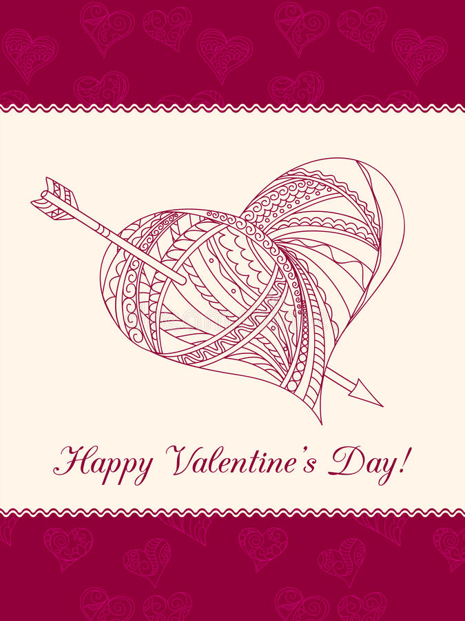 Valentine card with ornamental heart. Festive romantic card with doodle drawing ornamental heart, words Happy Valentine`s Day for Valentine Day, romantic stock illustration