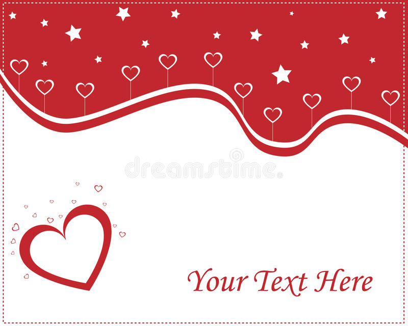 Valentine card - red and white. Illustration of hearts love card in red and white colors,with hearts and stars.Easy to edit adding your text.Useful for Valentine stock illustration