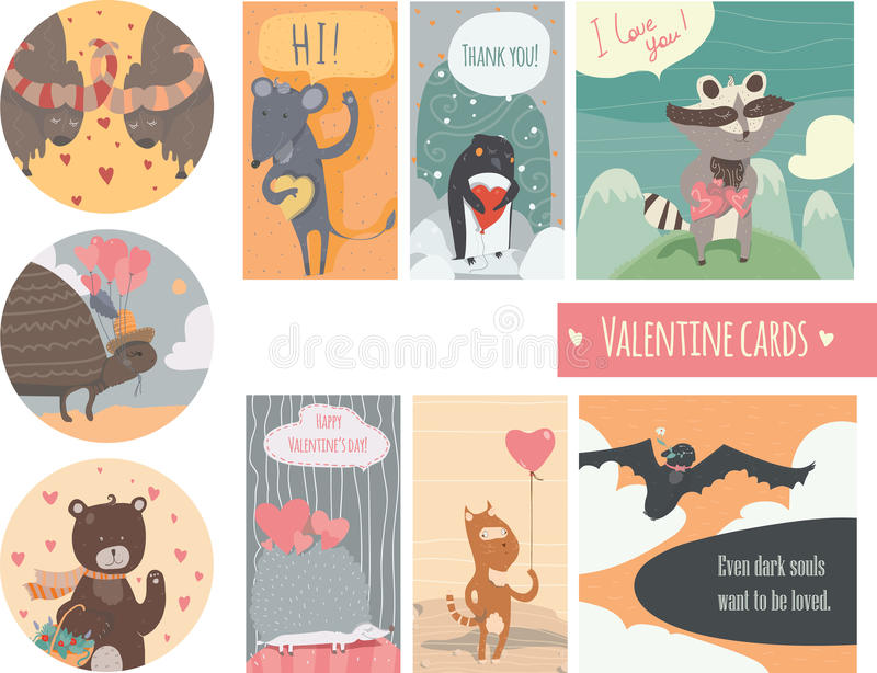 Valentine card set with fun animals with hearts and flowers, smiling, cute, with closed and open eyes. Vector illustration isolate vector illustration