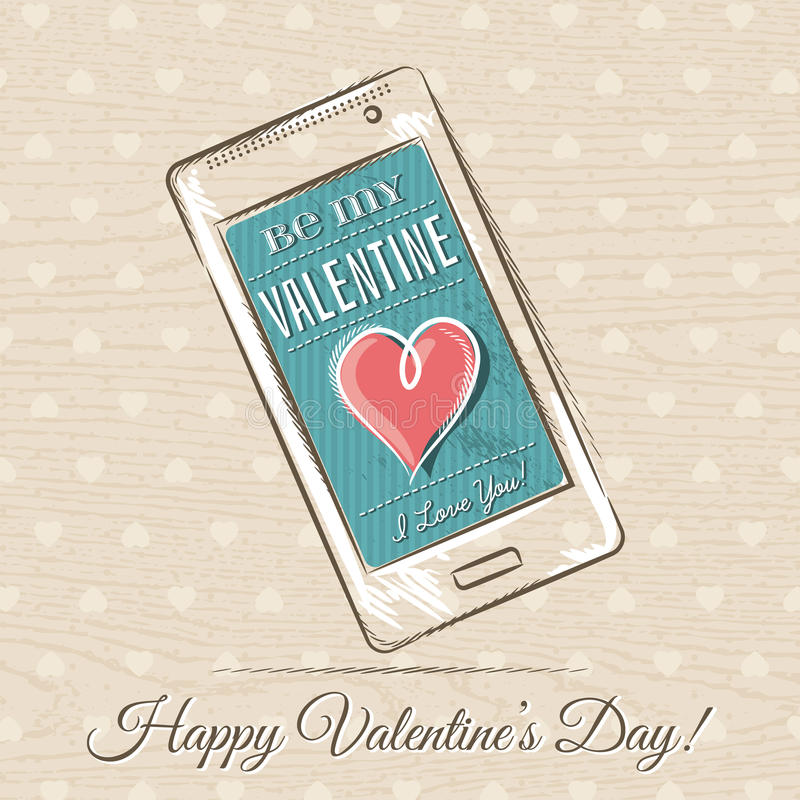 Valentine card with smart phone and red heart royalty free stock photography