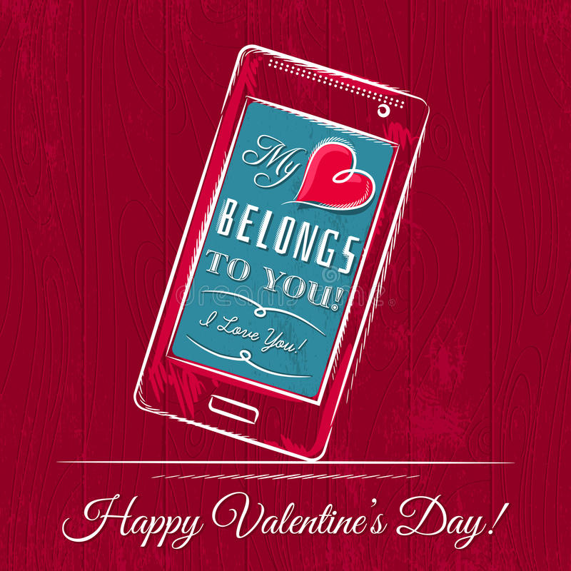 Valentine card with smartphone on red wooden background stock photos