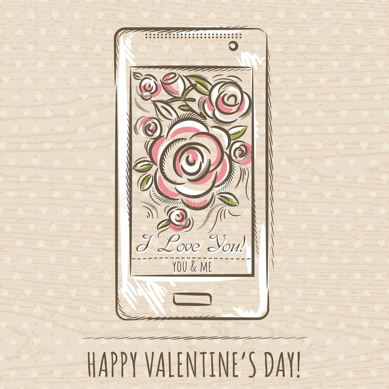 Valentine card with smartphone and roses, vector stock photography