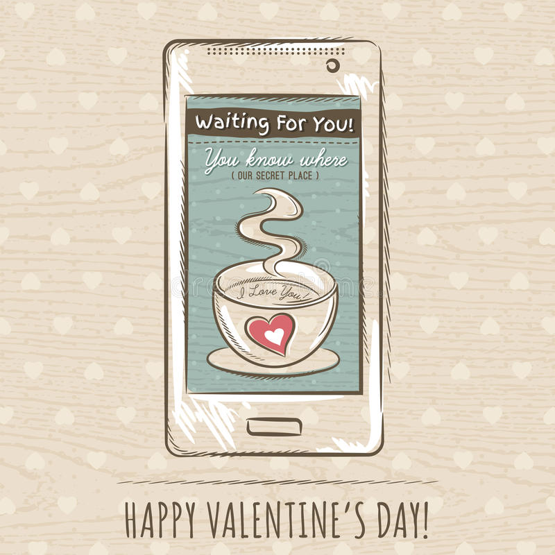 Valentine card with smartphone, vector royalty free stock images
