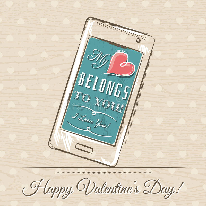Valentine card with smartphone, vector stock photography