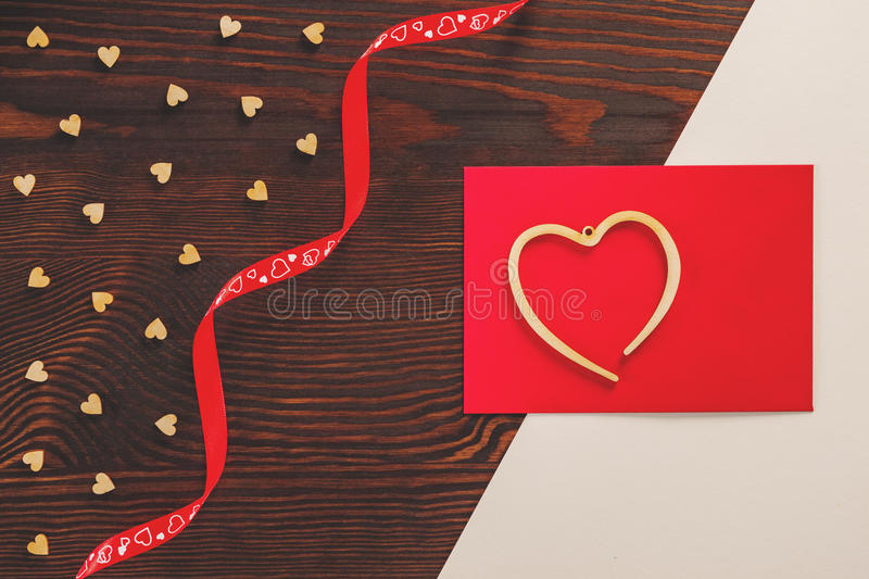Valentine card on table royalty free stock image