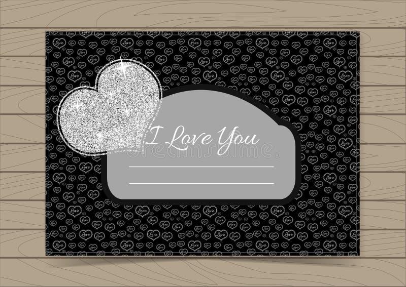 Valentine Card Template d'argento royalty illustrazione gratis