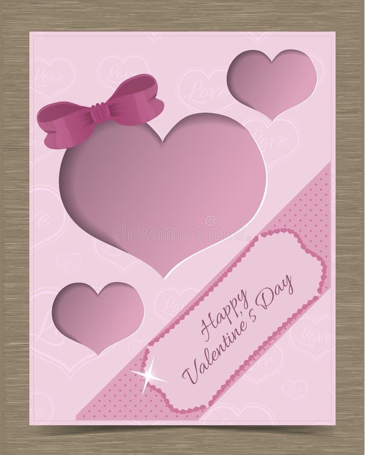 Valentine Card Template rosa tagliato con i cuori illustrazione vettoriale
