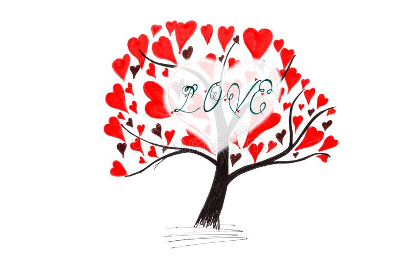 Valentine card with tree and hearts. Isolated on white background royalty free illustration