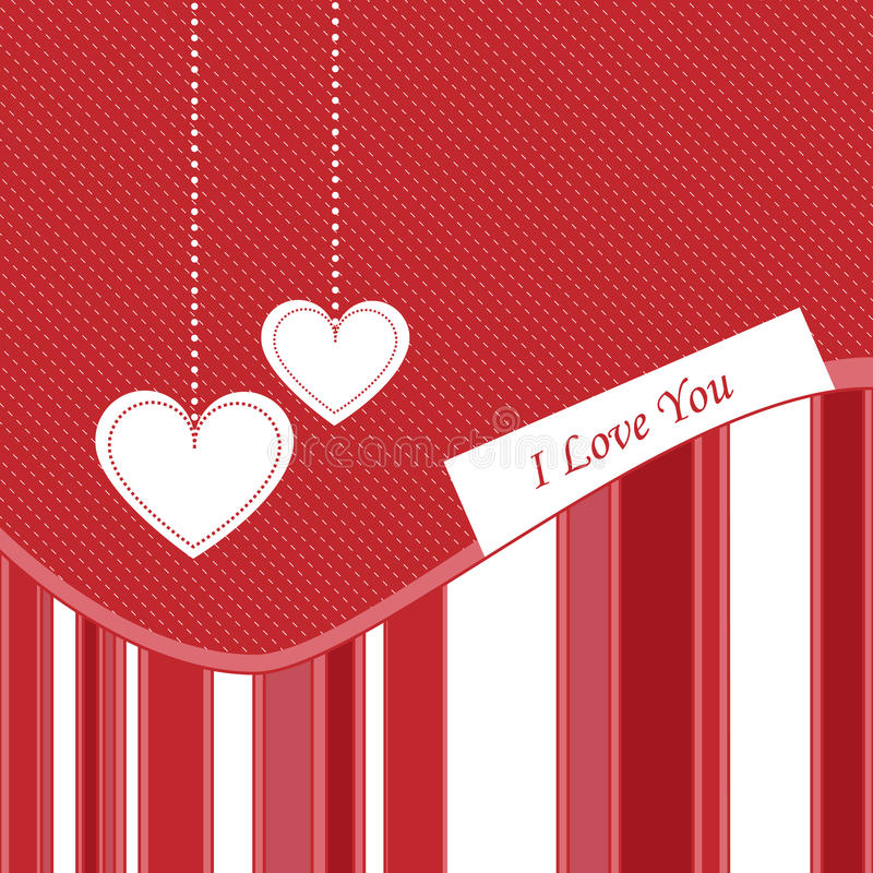 Valentine card - vector. Illustration of valentine card in red and white colors,with hanging hearts.EPS file available stock illustration