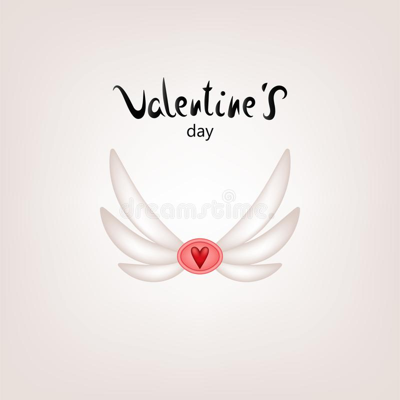 Valentine card wings stock illustration