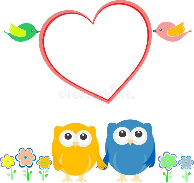 Free Valentine Card With Bird Couple, Owls And Heart Stock Image - 24777271