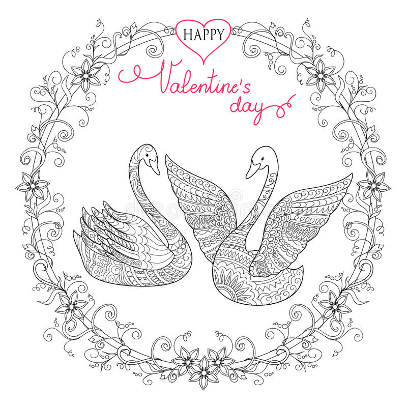 Free Valentine Card With Couple Swans Stock Photos - 80959843