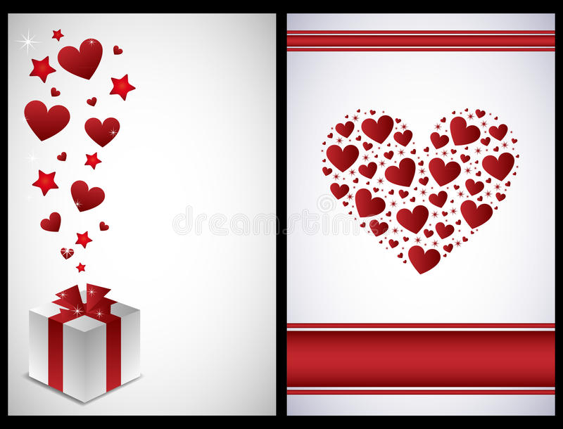 Valentine cards. Set of two Valentine cards isolated on black backgrounds.EPS file available stock illustration