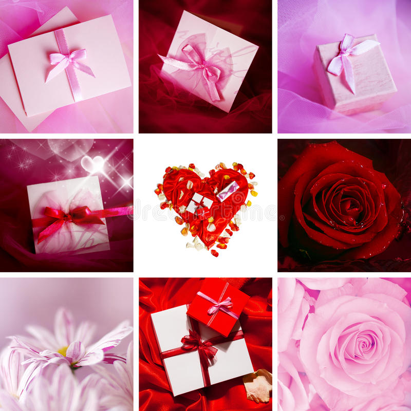 Valentine cards. Collage stock images