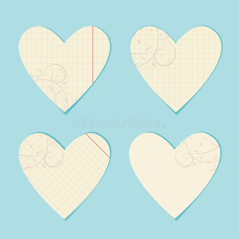Download Valentine Cards From Sheet Of Paper Stock Vector - Illustration of notebook, objects: 18892552