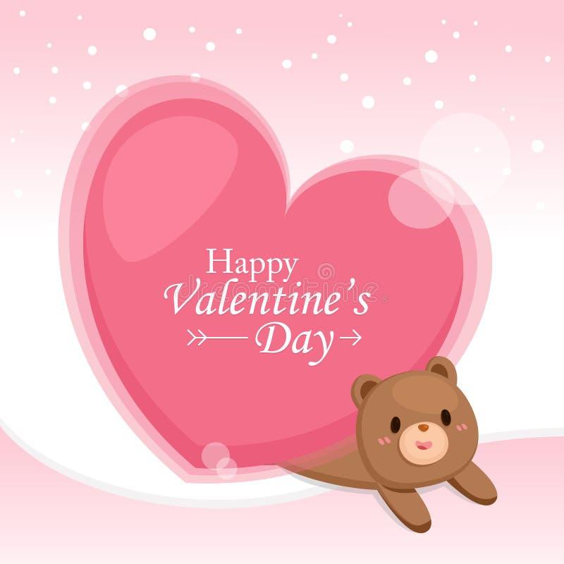 Valentine' cartão do dia de s Coração grande com o urso bonito no fundo cor-de-rosa ilustração stock