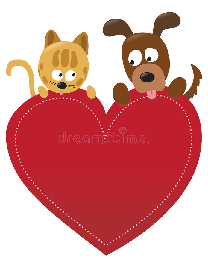 Download Valentine cat and dog stock vector. Image of heart, dots - 18045181