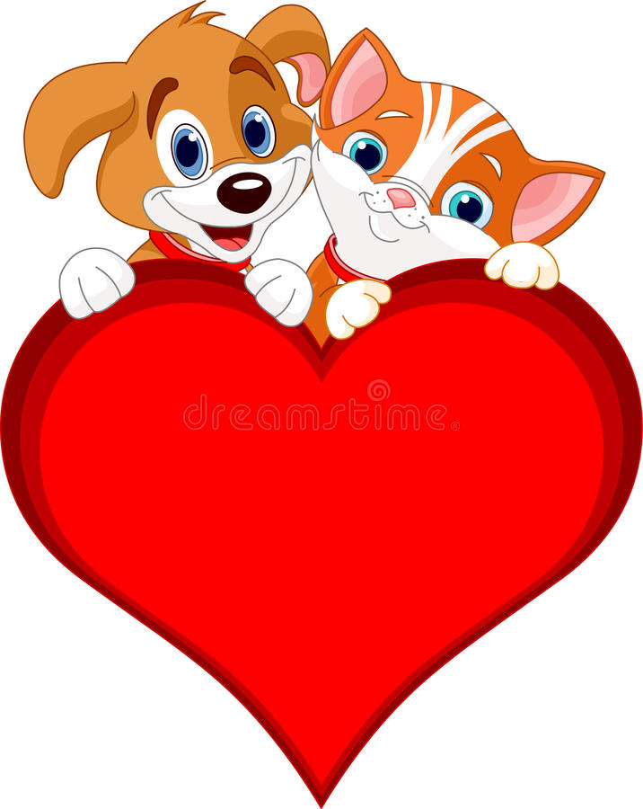 Download Valentine Cat and dog sign stock illustration. Image of droopy - 18072854