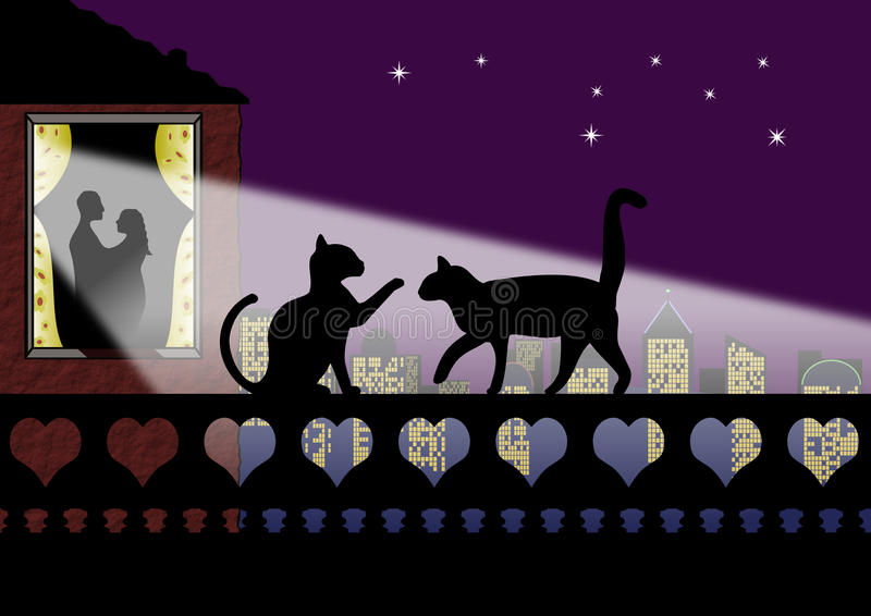 Download Valentine Cats And Couple In Love Stock Illustration - Image: 12660338