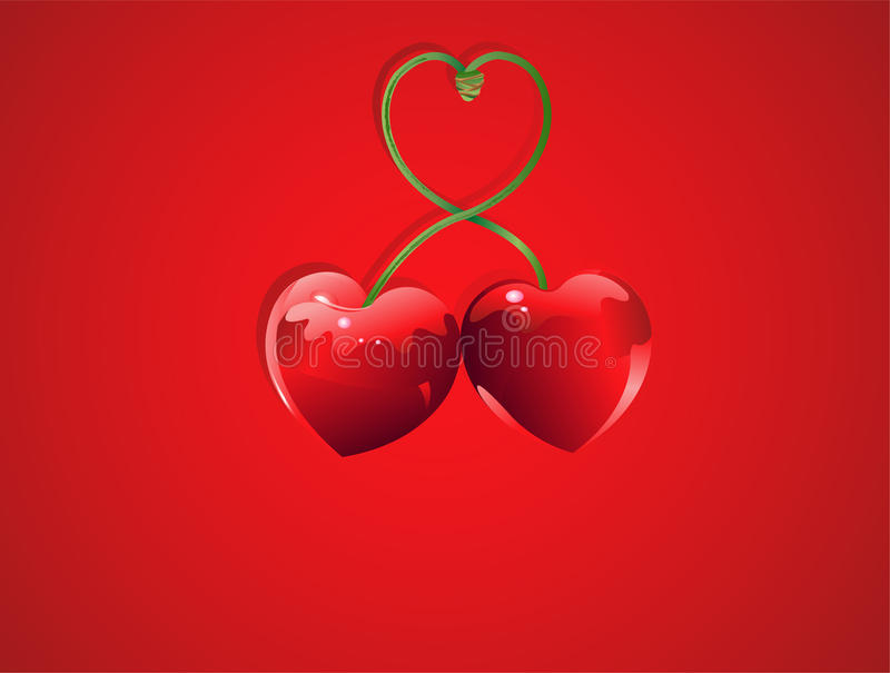 Valentine Cherry love vector illustration