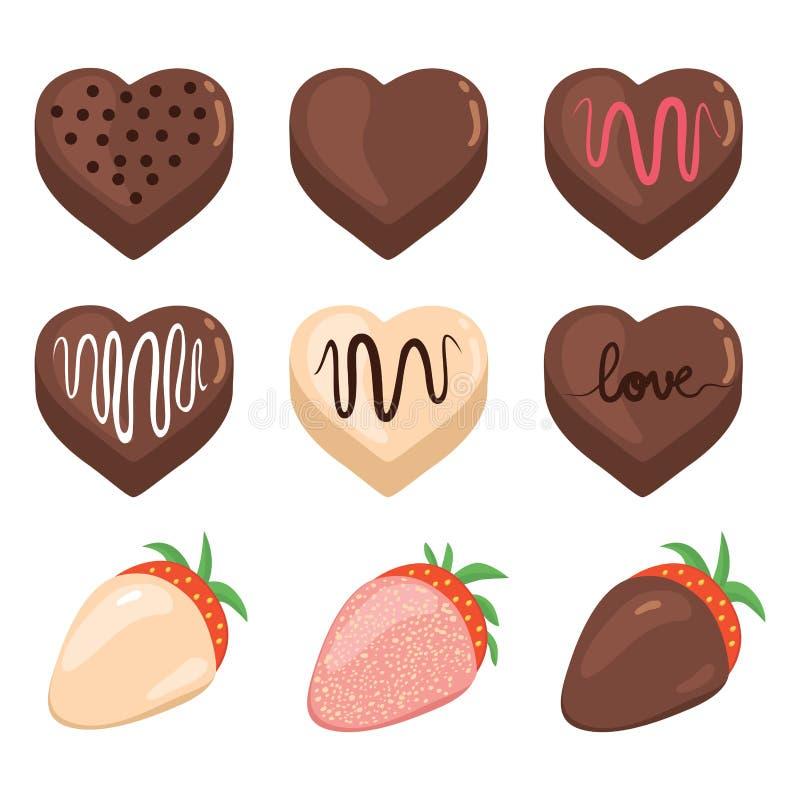 Valentine Chocolate Set ilustração stock