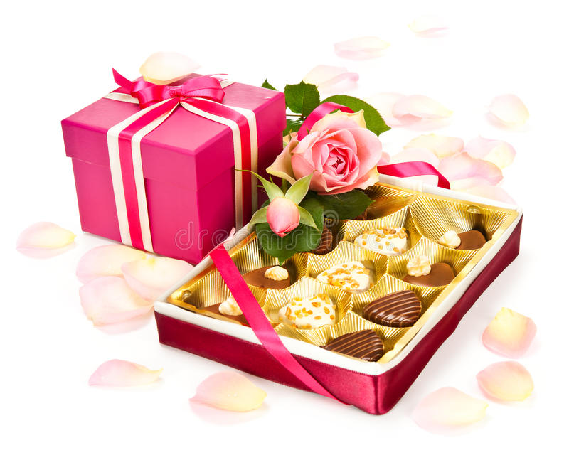 Valentine chocolates and a gift box royalty free stock photography