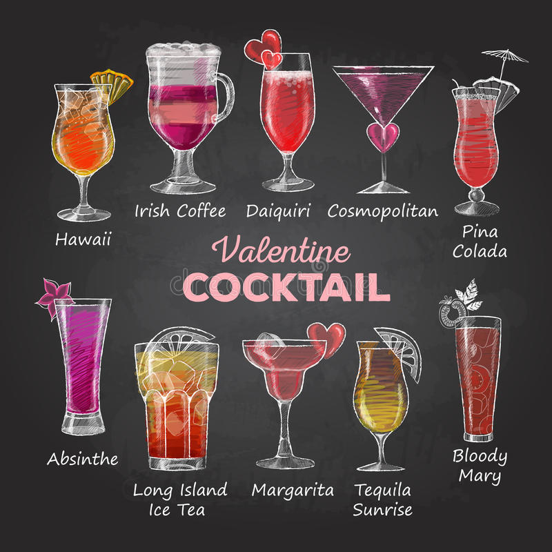Valentine cocktail menu. Chalk drawings. Valentine cocktail menu royalty free illustration