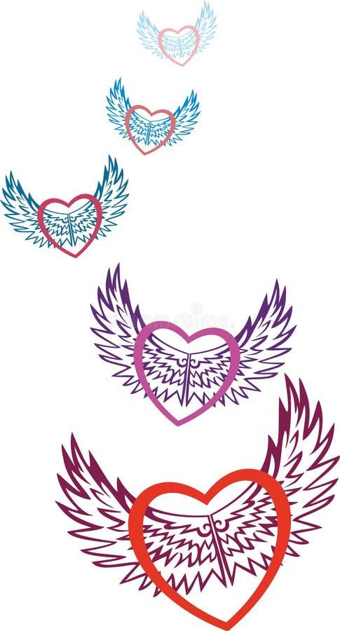 valentine Coeurs multicolores symbolisant l'amour, mouche sur les ailes modelées de l'amour le jour du saint Valentine illustration de vecteur