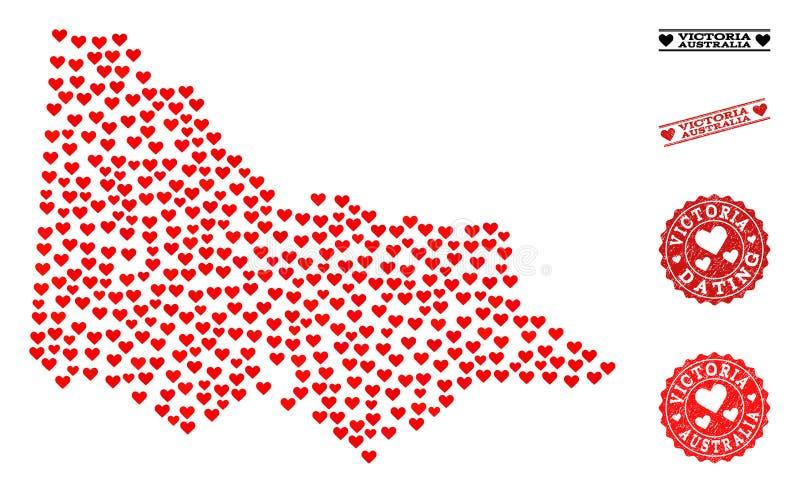 Valentine Collage Map dell'australiano Victoria e dei bolli di lerciume per i biglietti di S. Valentino illustrazione vettoriale