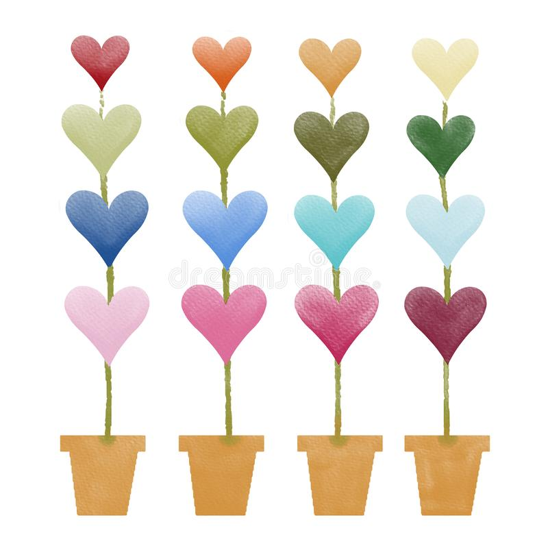 Valentine colorful heart on green plant and yellow pot,water color painting picture. royalty free stock photos