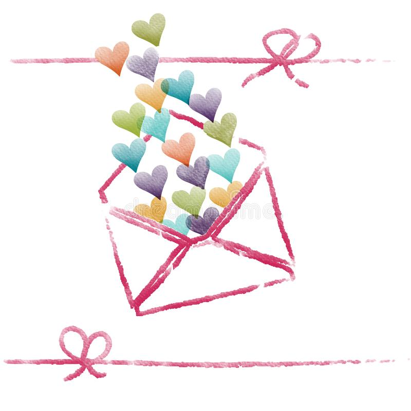 Valentine colorful heart over the pink envelope and between pink ribbon,water color painting picture. stock photos