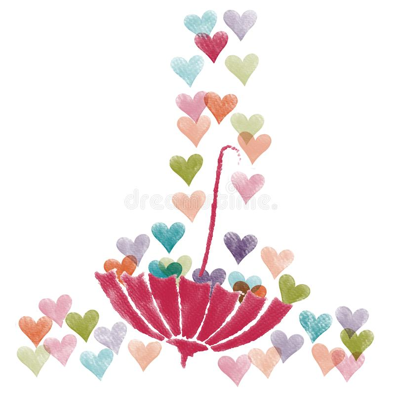 Valentine colorful heart and upside down pink umbrella,water color painting picture. royalty free stock photography