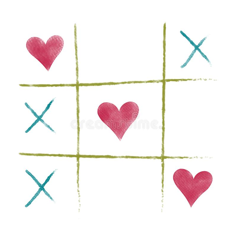 Valentine colorful and pink heart on tic tac toe game,water color painting picture. royalty free stock image