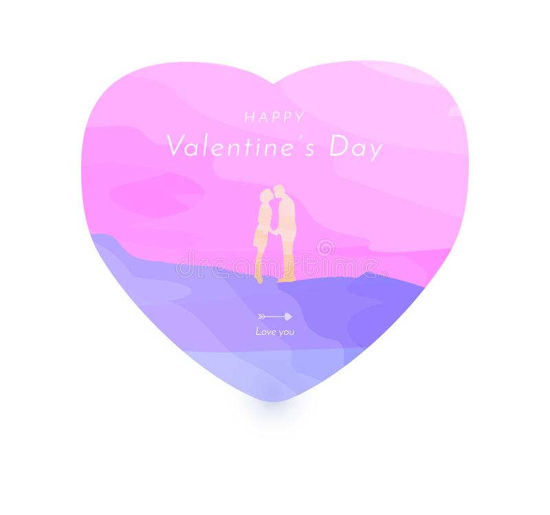 Valentine concept card with young lover in varicolored abstract heart shape balloon on romantic background, watercolor vector and royalty free illustration