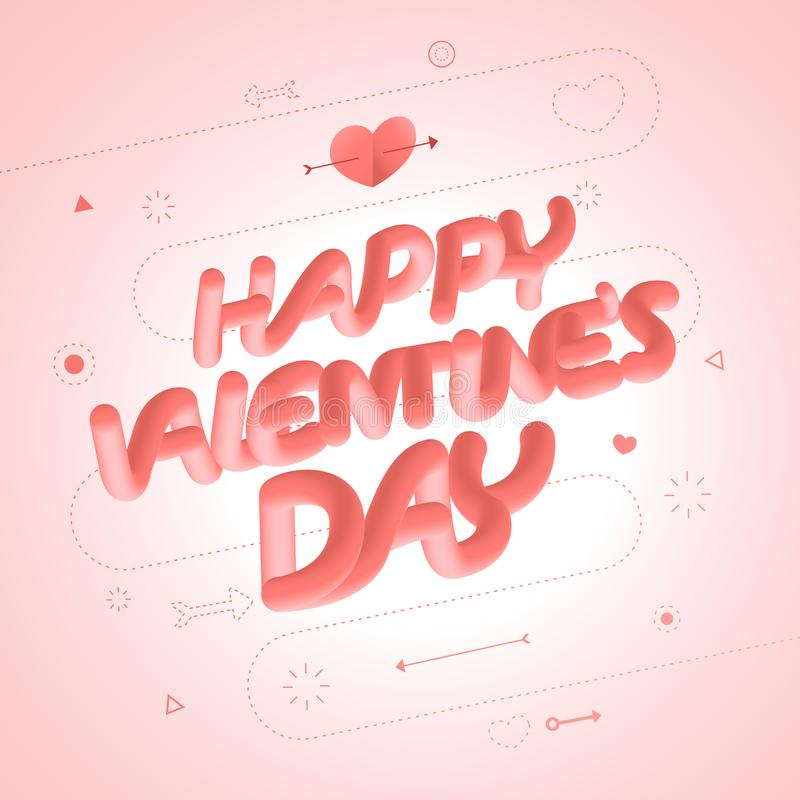 Valentine concept hearth and text royalty free illustration