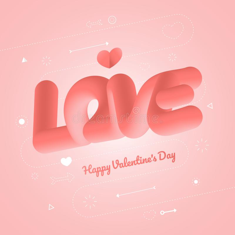 Valentine concept hearth and text stock illustration